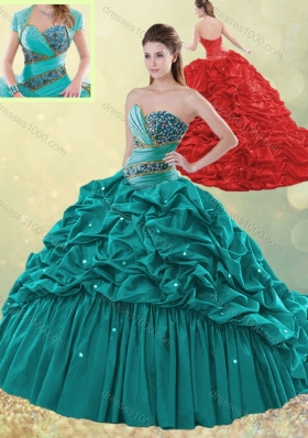 2016 Clearance Brush Train Taffeta Bubble Quinceanera Dress in Turquoise