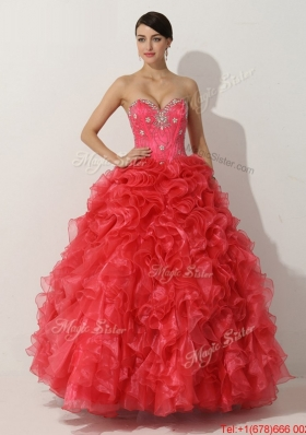 2016 Designer Princess Red Quinceanera Gown with Beading and Ruffles