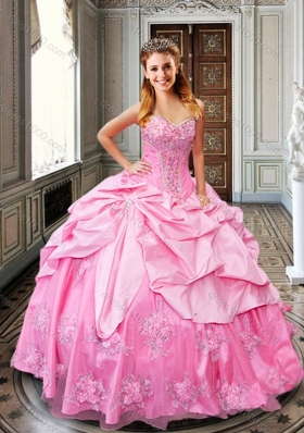 2016 Designer Rose Pink Quinceanera Dresses with Bubbles and Appliques