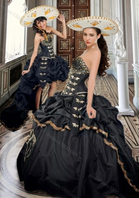 2016 Designer Taffeta Beaded and Applique Black Sweet 16 Dress with Brush Train