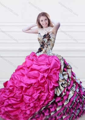 2016 Luxurious V Neck Fuchsia and Printed Quinceanera Dress with Feather and Bubbles