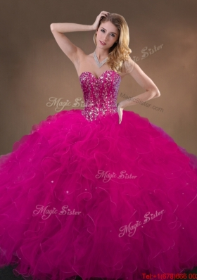 2016 Pretty Fuchsia Quinceanera Gowns with Beading and Ruffles