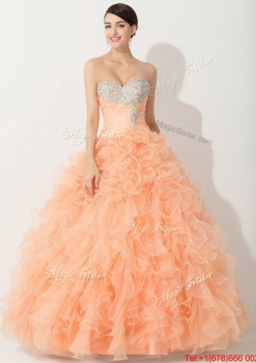 2016 Princess Orange Quinceanera Gown with Beading and Ruffles