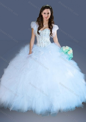 2016 Really Puffy Light Blue Quinceanera Dress with Beading and Ruffles