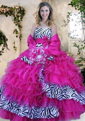 2016 Strapless Zebra and Hot Pink Quinceanera Dresses with Ruffles and Bowknot