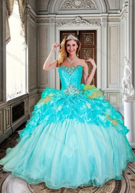 Beautiful Ball Gown Aqua Blue Sweet 16 Dress with Beading and Ruffles