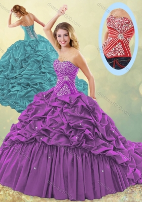 Clearance Big Puffy Brush Train Taffeta Quinceanera Dress in Purple