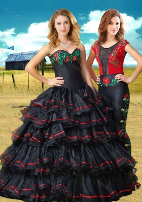 Clearance Black Sweet 16 Dress with Embroidery and Ruffled Layers