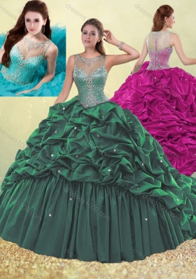 Clearance See Through Beaded and Bubble Quinceanera Dress in Dark Green
