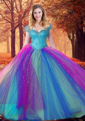 Custom Designed Multi Color Quinceanera Dress with Beading