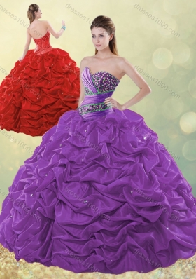 Designer Beaded and Bubble Purple Quinceanera Dress in Taffeta