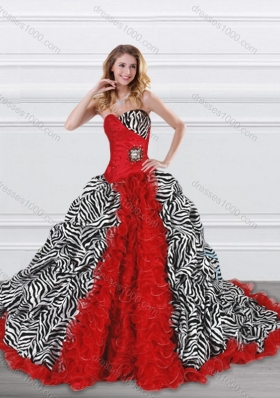 Designer Beaded and Ruffled Red and Zebra Quinceanera Dress with Brush Train