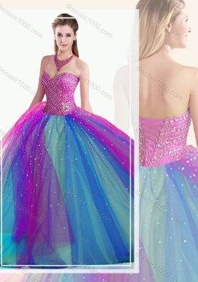 Designer Fit Multi Color Quinceanera Dress with Beading