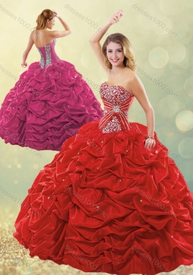 Designer Puffy Skirt Bubble Red Quinceanera Dress in Taffeta