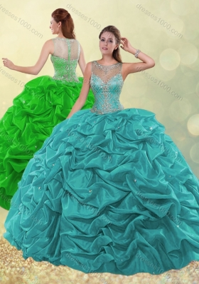 Designer See Through Scoop Beaded and Bubble Green Quinceanera Dress