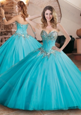 Pretty Visible Boning Tulle Beaded Quinceanera Dress in Aqua Blue