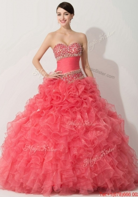 Princess Coral Red Sweet 16 Dress with Beading and Ruffle