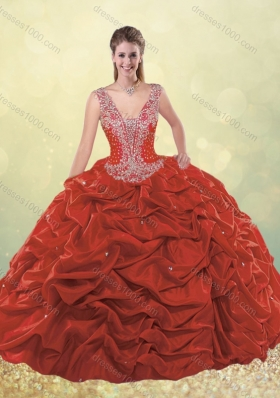 Sweet Beaded Bodice Straps Taffeta Quinceanera Dress with Bubbles