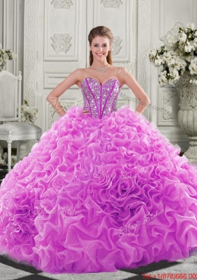 Cheap Visible Boning Beaded Bodice Fuchsia Detachable Quinceanera Gown with Ruffles