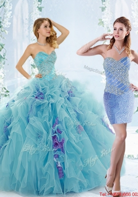 Low Price Aque Blue Elegant Quinceanera Gowns with Beading and Ruffles