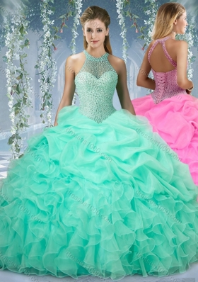 Beautiful Halter Top Beaded and Ruffled Elegant Quinceanera Dresses in Mint