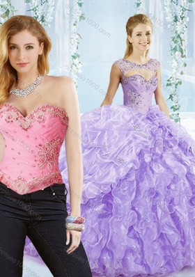 Big Puffy Bubble and Beaded Lavender Detachable Sweet 16 Dress in Organza