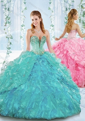 Deep V Neckline Detachable Quinceanera Dress with Beading and Ruffles