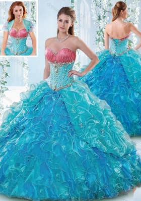 Elegant Beaded Bodice and Ruffled Elegant Quinceanera Dresses