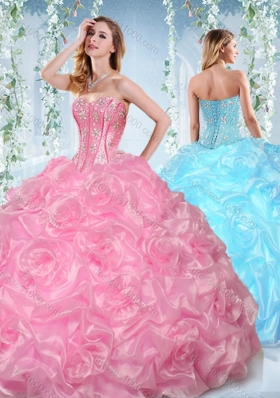 Fashionable Beaded and Bubble Organza Detachable�Quinceanera�Gowns in Rose