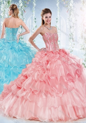 Latest Visible Boning Beaded Bodice Detachable Quinceanera Gown in Organza