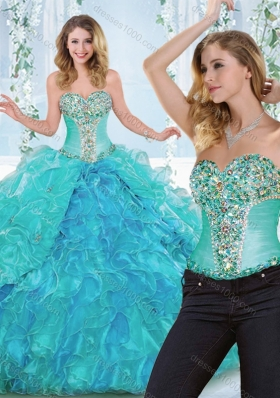 Luxurious Really Puffy Rhinestoned and Ruffled Detachable Sweet 16 Dress