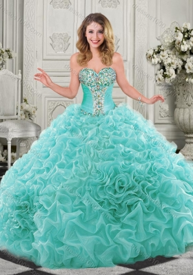 Modern Beaded and Ruffled Chapel Train Quinceanera Dress in Organza
