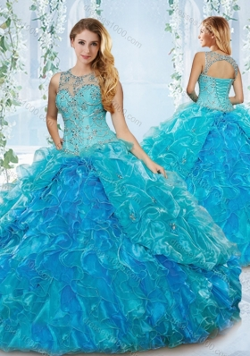 Modern See Through Blue Detachable Sweet 16 Dress with Beading and Ruffles