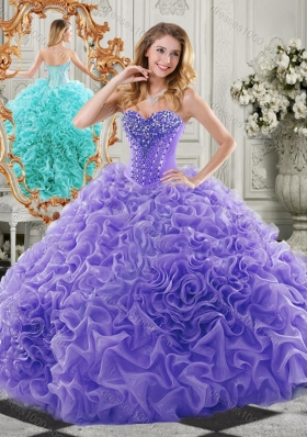 New Style Organza Lavender Elegant Quinceanera Dresses with Beading and Ruffles