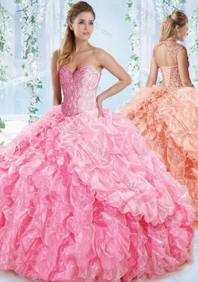 New Style Organza Beaded Rose Pink Quinceanera Dress with Detachable Straps