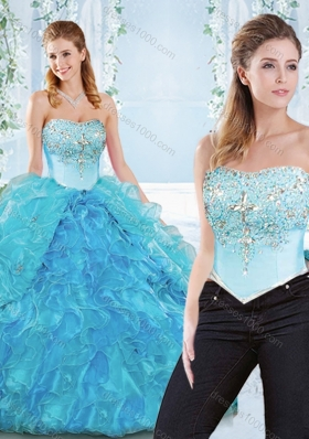 Popular Big Puffy Organza Detachable Sweet 16 Dress with Beading and Ruffles