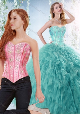 Simple Brush Train Beaded Detachable Quinceanera Gown in Aquamarine