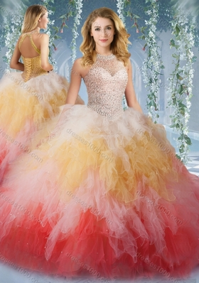 2016 Pretty Halter Top Rainbow Sweet Fifteen Dresses with Beading and Ruffles
