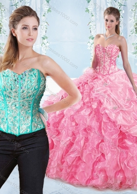 Discount Beaded Bodice Visible Boning Rose Pink Sweet Fifteen Dresses
