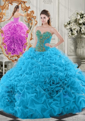 Exclusive Beaded Bodice and Ruffled Sweet Fifteen Dresses in Baby Blue