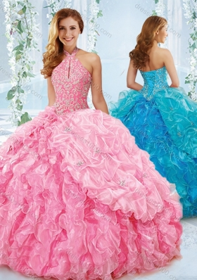 Exquisite Halter Top Beaded Bodice Sweet Fifteen Dresses in Rose Pink