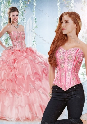 Modest Visible Boning Organza Sweet Fifteen Dresses with Beaded Bodice