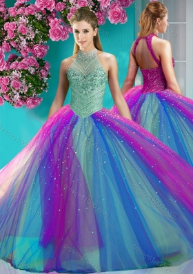 Exclusive Halter Top Really Puffy Designer Quinceanera Dress with Beading and Appliques