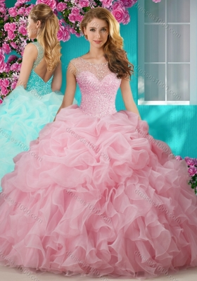 Lovely Beaded and Ruffled Big Puffy Designer Quinceanera Dresses with See Through Scoop