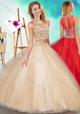 Two Piece See Through Scoop Designer Quinceanera Dress with Beading and Appliques