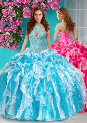 Classical Beaded and Ruffled Halter Top Quinceanera Dress in Baby Blue and White