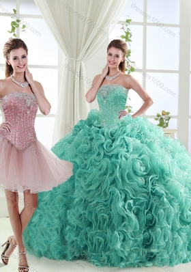 Popular Beaded Big Puffy Detachable Quinceanera Dresses in Rolling Flower
