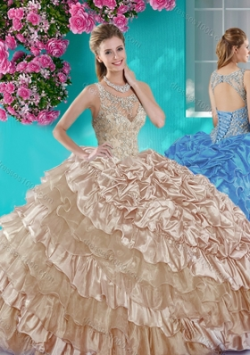 Ruffled Layers and Beaded Champagne Quinceanera Dress in Organza and Taffeta