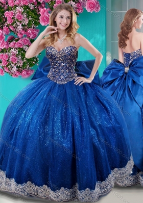 Unique Ball Gown Sequins Bowknot and Beaded Royal Blue Quinceanera Dress with Sweetheart