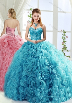Artistic Rolling Flowers Brush Train Detachable Quinceanera Gowns with Beading